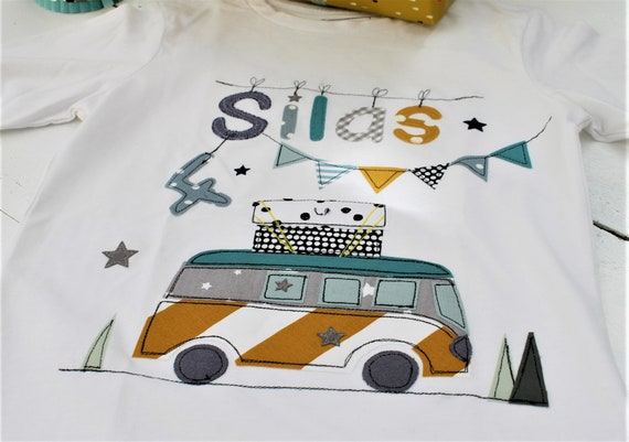 Birthday Shirt Kids,Birthday Shirt,Shirt for Boys,Shirt with Name,Shirt with Number, Bus, Camper, Shirt Bus, Campershirt, Camping, Car