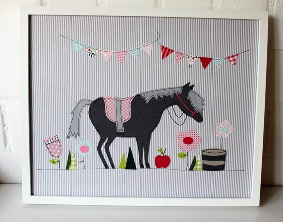 Picture horse, picture with horse, picture fabric, picture for nursery, nursery picture, horse picture nursery, horse poster, horse girl