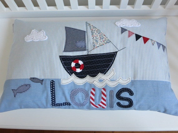 Pillow with Name Pillow Cover Pillow Birth Baby Pillow Pillow Personalized Sailboat Pillow Children's Pillow Baby Pillow