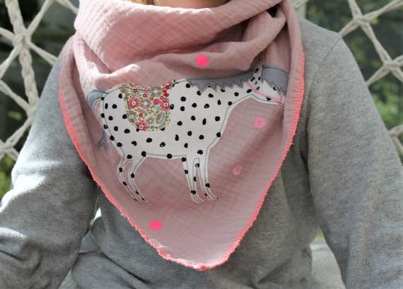 Children's scarf muslin, muslin scarf, muslin scarf, cloth horse, gift, confetti, glitter, muslin pink, scarf autumn, scarf horse