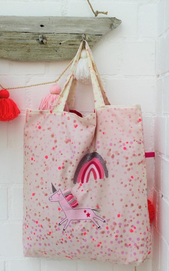 Bag of tote bag, tote bag, shopping bag unicorn large bag, summer bag bag rainbow large shoulder bag