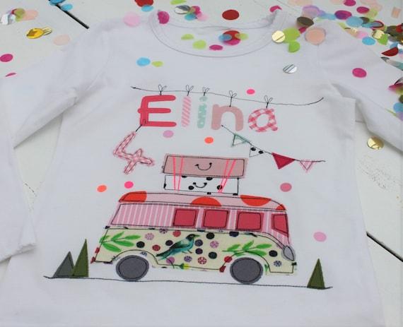 Birthday Shirt Kids,Birthday Shirt,Shirt for Girls,Shirt with Name,Shirt with Number, Bus, Camper, Shirt Bus, Camper Shirt, Camping