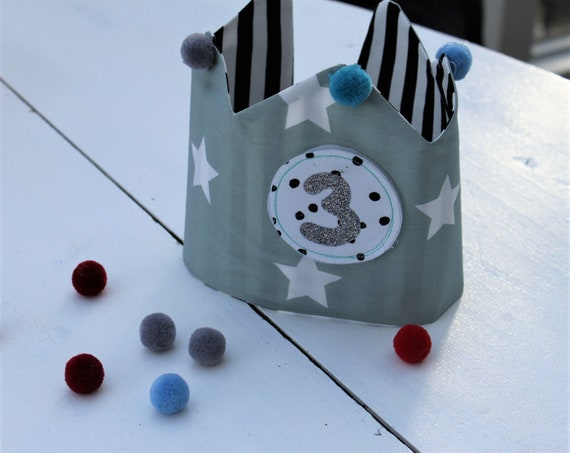 Birthday crown, birthday crown boys, birthday crown sewn, birthday crown muslin, muslin crown, birthday crown fabric