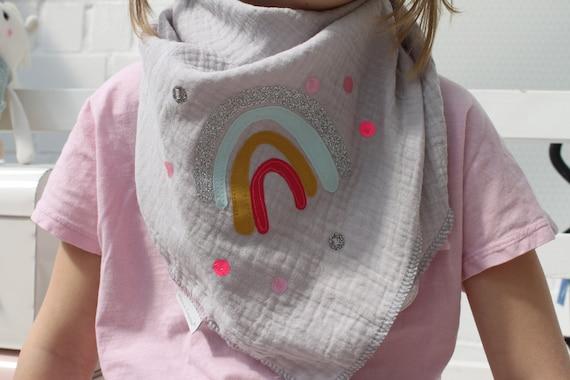 Girls neckerchief muslin, muslin scarf, muslin scarf, rainbow cloth, rainbow towel, confetti, glitter, muslin mint, kids scarf grey