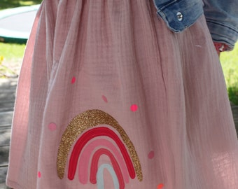 Girls' skirt muslin, skirt muslin, muslin skirt, muslin, skirt rainbow, rainbow skirt, confetti, glitter skirt, muslin pink, old pink