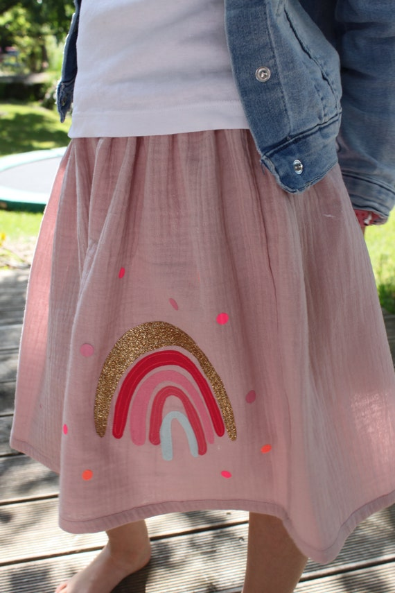 Skirt, rock muslin, muslin skirt, muslin, rock rainbow, rainbow skirt, confetti, glitter skirt, muslin pink, old rosé, rainbow skirt