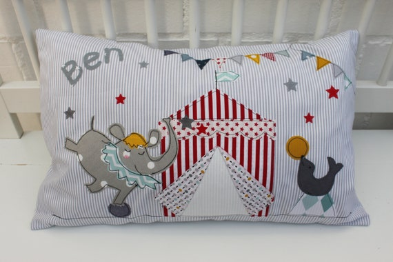 Pillow with Name Pillow Cover Pillow Birth Baby Pillow Pillow Personalized Circus Elephant Cuddly Pillow Baby Pillow Baby Pillow