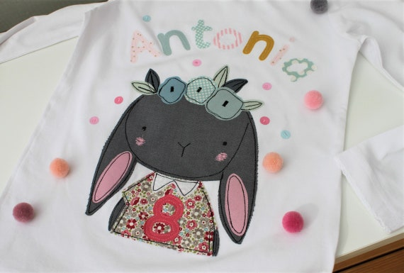 Birthday shirt kids,birthday shirt,shirt for girls,shirt with name,shirt with number, shirt bunny, shirt birthday, bunny shirt, bunny