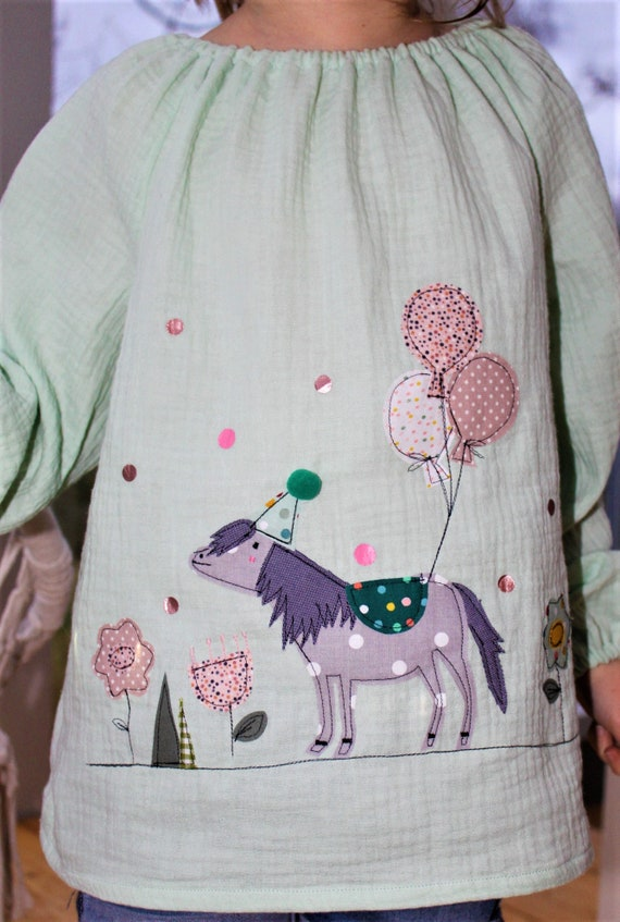 Blouse birthday, girl blouse, birthday blouse, blouse with number, tunic pony, hanger birthday, tunic, musteline, birthday blouse