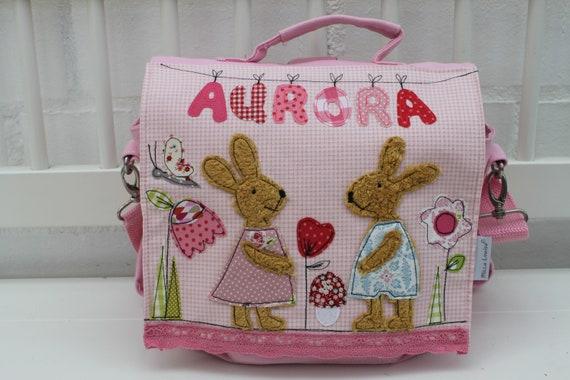 Kindergarten Backpack Nursery Bag with name backpack Kindergarten child Kids backpack Kita bag canvas Bunny Milla Louise