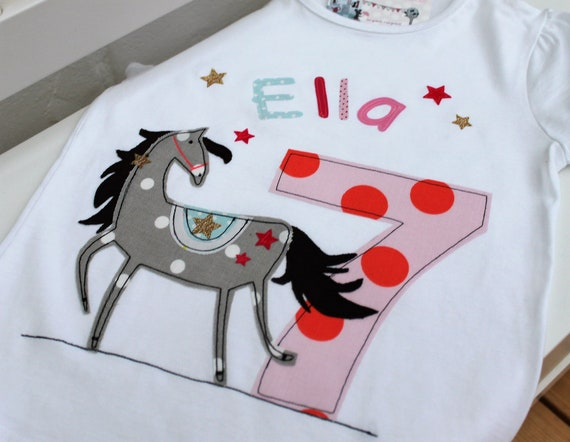 Birthday shirt Kids, Birthday Shirt, Shirt for Girl, Shirt with Name, Shirt with Number, Horse, Gift, Shirt with Horse, T-Shirt, Milla Louise