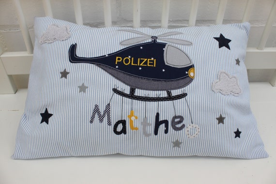Pillow with Name Pillowcase Pillow Birth Baby PillowCase Pillow Personalized Police Helicopter Cuddly Pillow Children's Pillow Baby Pillow