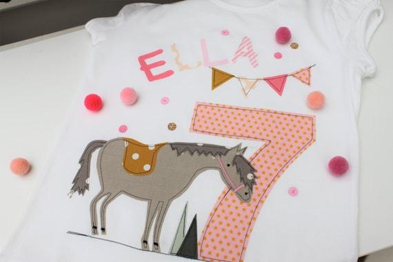 Birthday shirt kids,birthday shirt,shirt for girls,shirt with name,shirt with number, shirt horse, shirt birthday, horse shirt