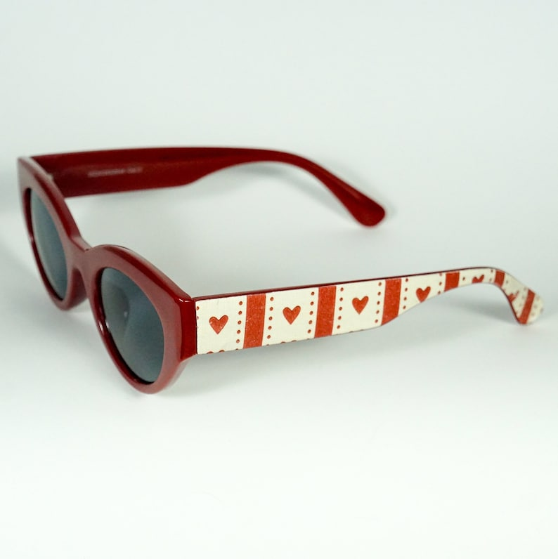 4bd0c02af2fe Handmade Cateye Pin Up Red Sunglasses High Quality Polc Dots