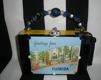 Orlando Vintage Postcard Cigar Box Purse, Cigar Box Handbag, Yellow, Lined, Authentic