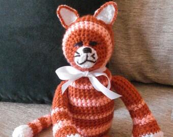 "Crocheted kitty cat stuffed animal doll toy ""Jester"""