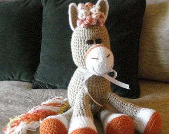 "Crocheted pony horse stuffed animal doll  toy""Sonny"""