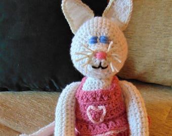 "Crocheted kitty cat stuffed animal doll toy ""Katy"""