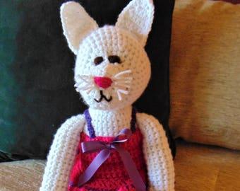 "Crocheted kitty cat stuffed animal doll toy ""Sasha"""