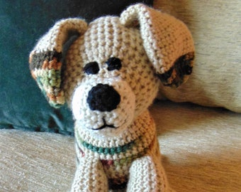 """Crocheted puppy dog stuffed animal doll toy """"Scout"""""""