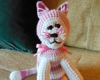 "Crocheted kitty cat stuffed animal doll toy ""Kathy"""
