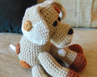 """Crocheted  puppy dog stuffed animal doll toy """"Rover"""""""