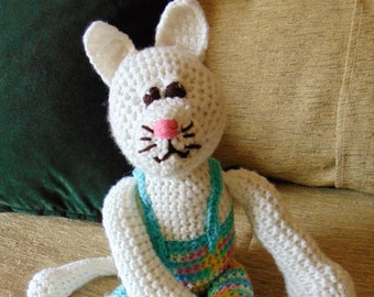 "Crocheted kitty cat stuffed animal doll toy ""Tinker"""