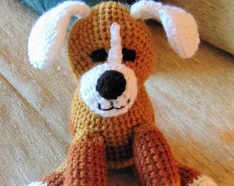 "Crocheted puppy dog stuffed animal doll toy ""Biff"""