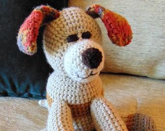"""Crocheted puppy dog stuffed animal doll toy """"Bowzer"""""""