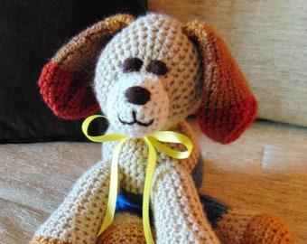 "Crocheted puppy dog stuffed animal doll toy ""Barkley"""
