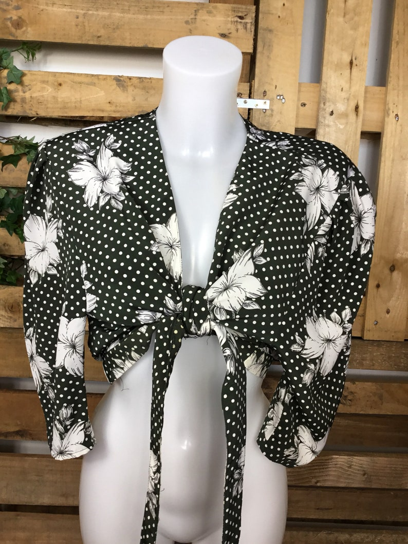 80/'s 90/'s festival outfit summer cropped blouse Cute vintage Funky tie front cropped shirt