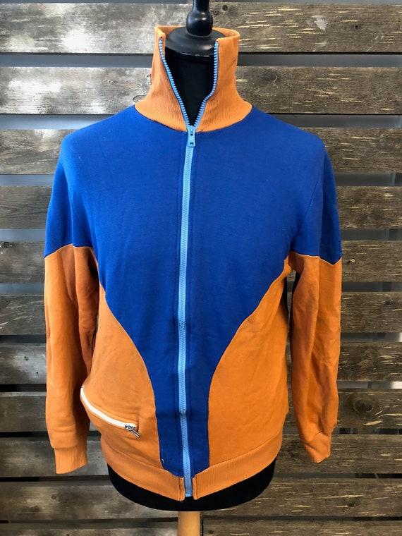Vintage 70er Jahre Festival Track Anzug Jacke funky retro Rave Windjacke Größe L
