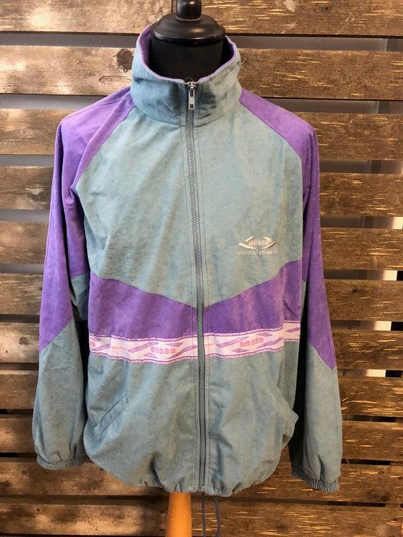 Vintage Festival 70s Track Suit Jacket funky retro rave windbreaker size L
