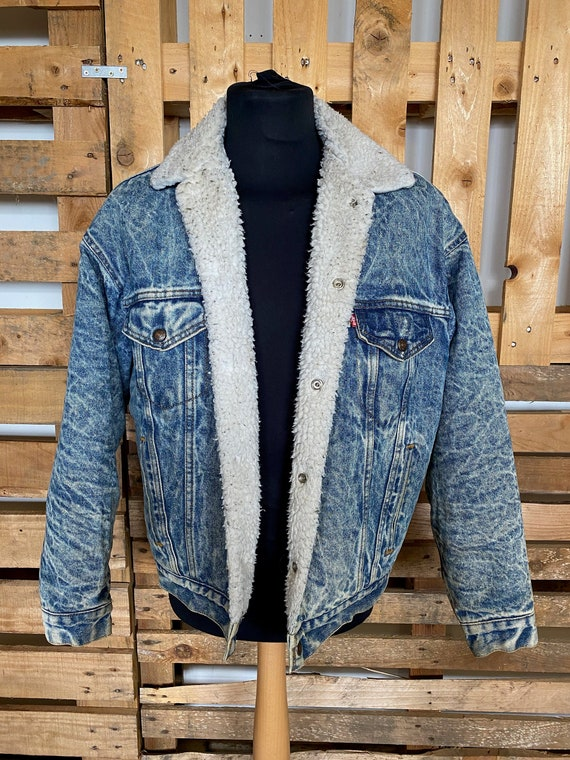 LEVIS Vintage Teddy Collar Denim Jacket - retro 80
