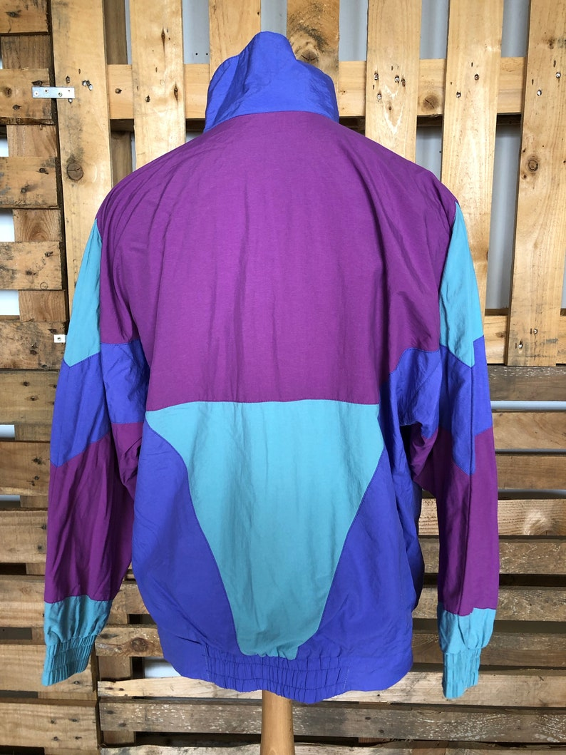 NOTE elastic gone in waist funky retro rave windbreaker size L Vintage Festival 70s80s Track Suit Jacket