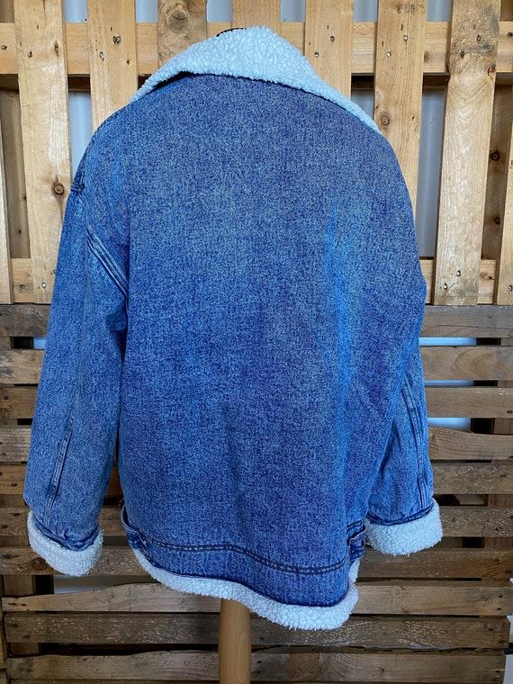 Vintage Teddy Collar Denim Jacket - retro 80s/90s… - image 2