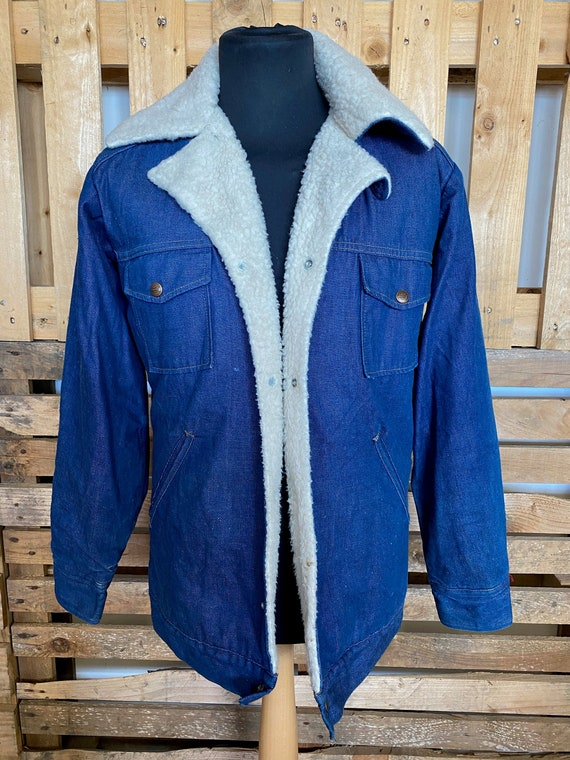 Vintage Teddy Collar Denim Jacket - retro 80s/90s