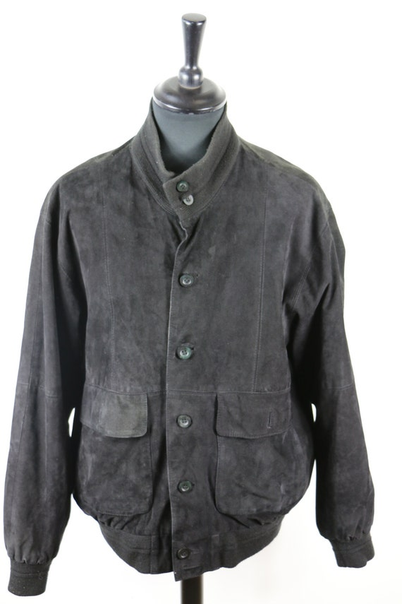 retro suede oversized coat Suede Vintage 70/'s Bomber Jacket