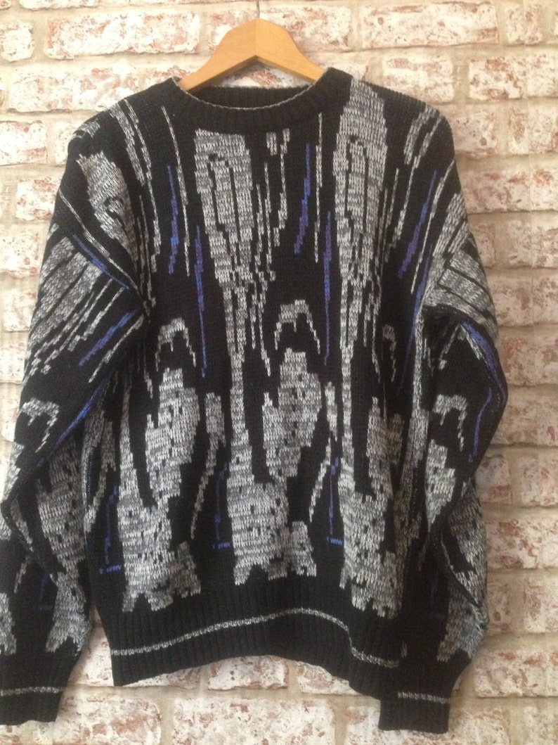5ea01fa5a8 Vintage Crazy Print 80 S 90 S Knitted Jumpers funky