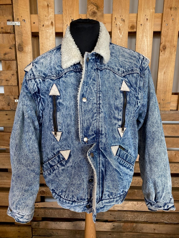 WRANGLER Vintage Teddy Collar Denim Jacket - retro