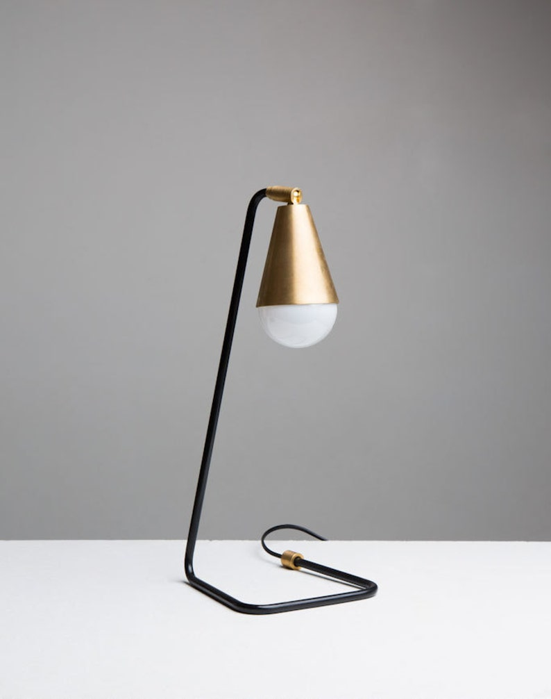 Signature Steel and Brass Desk Table Lamp image 0