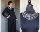 Vintage 1970 39 s Black Nylon Disco Maxi Dress w Prong Set Rhinestone Bib Collar Detail - size Medium
