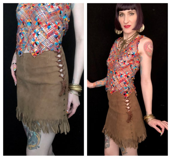 Vintage 1960's Brown Suede Leather Fringe Lace-Up