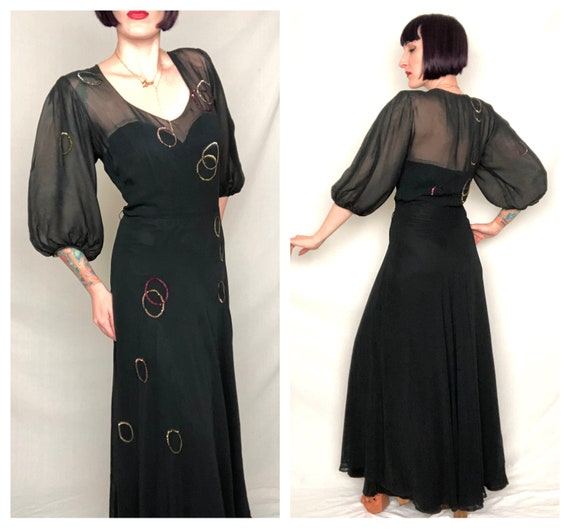 Gorgeous VOLUP Vintage 1940's Navy Blue Rayon Chif