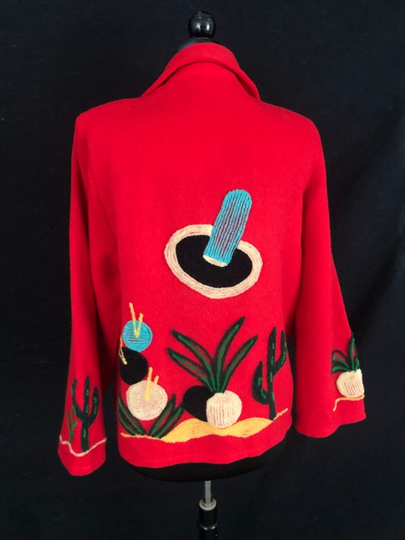 Red Wool Jacket 1940s Vintage Mexican Jacket Tourist Jacket Rainbow Embroidered