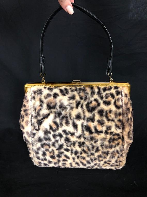 Vintage 1960's Leopard Faux Fur and Vinyl Top Han… - image 2