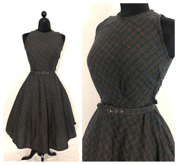 Vintage 1950's Dark Rainbow Micro Plaid Cotton Fit