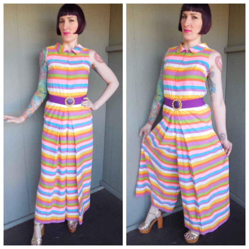 1b39b4bc3bd1 RARE Vintage 1960 s Rainbow Striped Palazzo Pant Jumpsuit