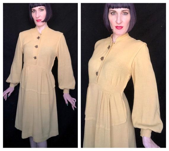 Vintage 1930's 1940's Mustard Yellow Wool Bishop S