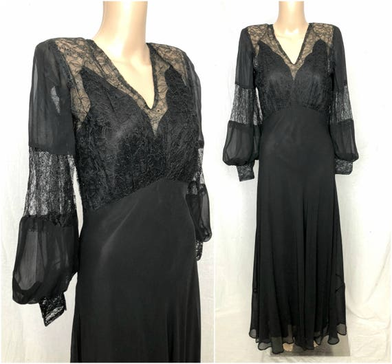 STUNNING Vintage 1930's 1940's Gothic Black Lace a
